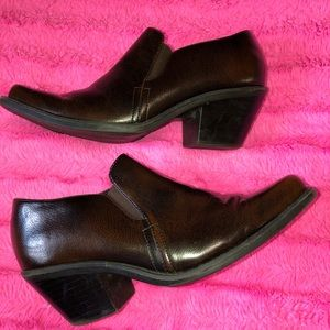 Self Esteem brown leather heeled ankle boots 9